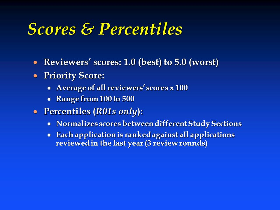 Scores & Percentiles  Reviewers' scores: 1.0 (best) to 5.0 (worst)  Priority Score:  Average of all reviewers' scores x 100  Range from 100 to 500