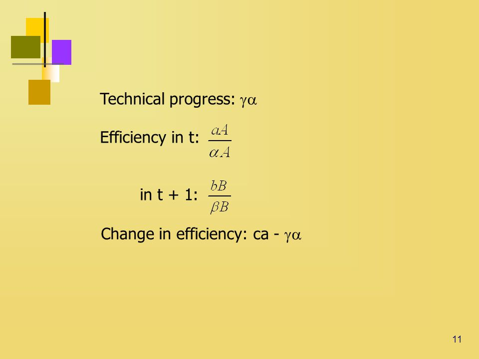 11 Technical progress:  Efficiency in t: in t + 1: Change in efficiency: ca - 