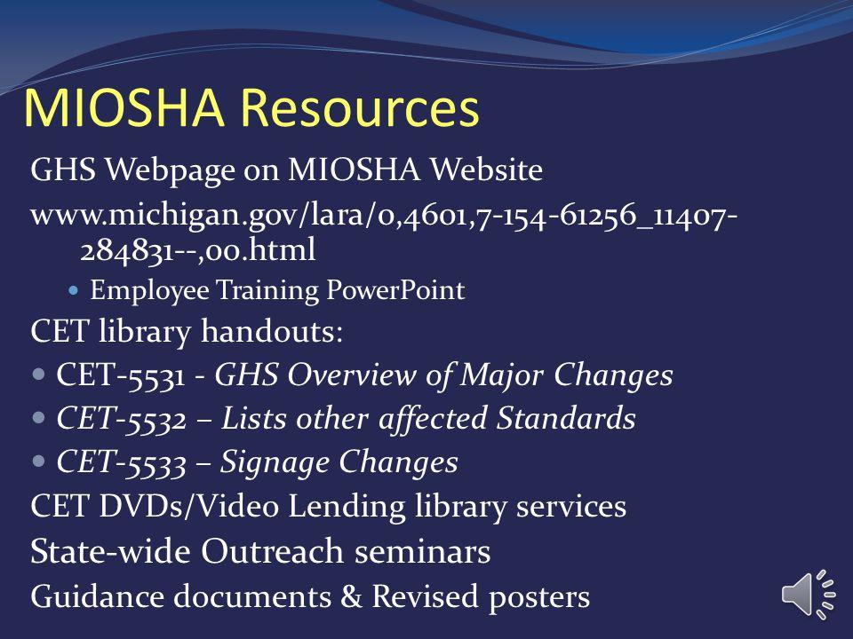 Federal OSHA Resources Haz Com Web Page - www.osha.gov/dsg/hazcom/index.html Regulatory Haz Com 2012 Final Rule Haz Com Comparison: Haz Com 1994 and 2