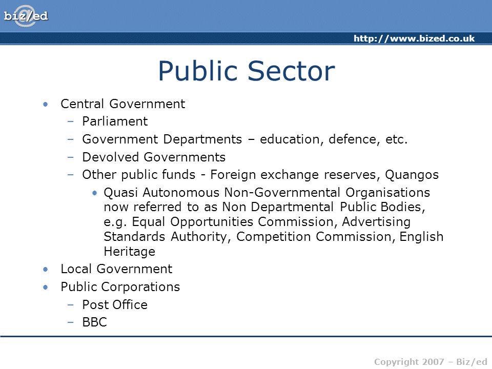 http://www.bized.co.uk Copyright 2007 – Biz/ed Public Sector Spending