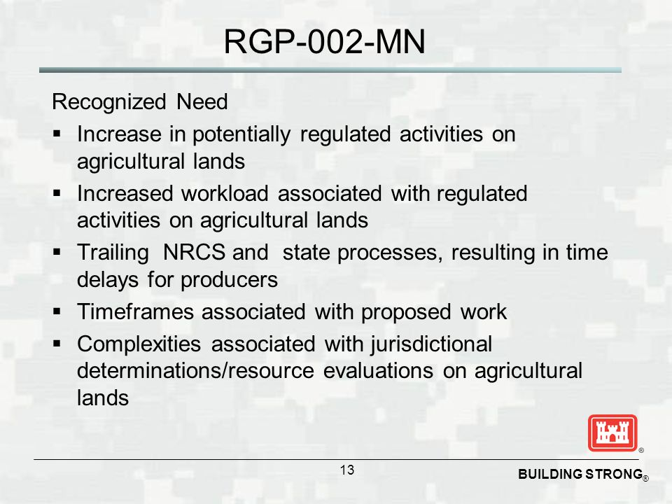 BUILDING STRONG ® RGP-002-MN Recognized Need  Increase in potentially regulated activities on agricultural lands  Increased workload associated with