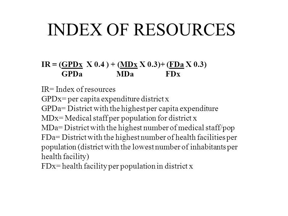 INDEX OF RESOURCES IR = (GPDx X 0.4 ) + (MDx X 0.3)+ (FDa X 0.3) GPDa MDa FDx IR= Index of resources GPDx= per capita expenditure district x GPDa= District with the highest per capita expenditure MDx= Medical staff per population for district x MDa= District with the highest number of medical staff/pop FDa= District with the highest number of health facilities per population (district with the lowest number of inhabitants per health facility) FDx= health facility per population in district x