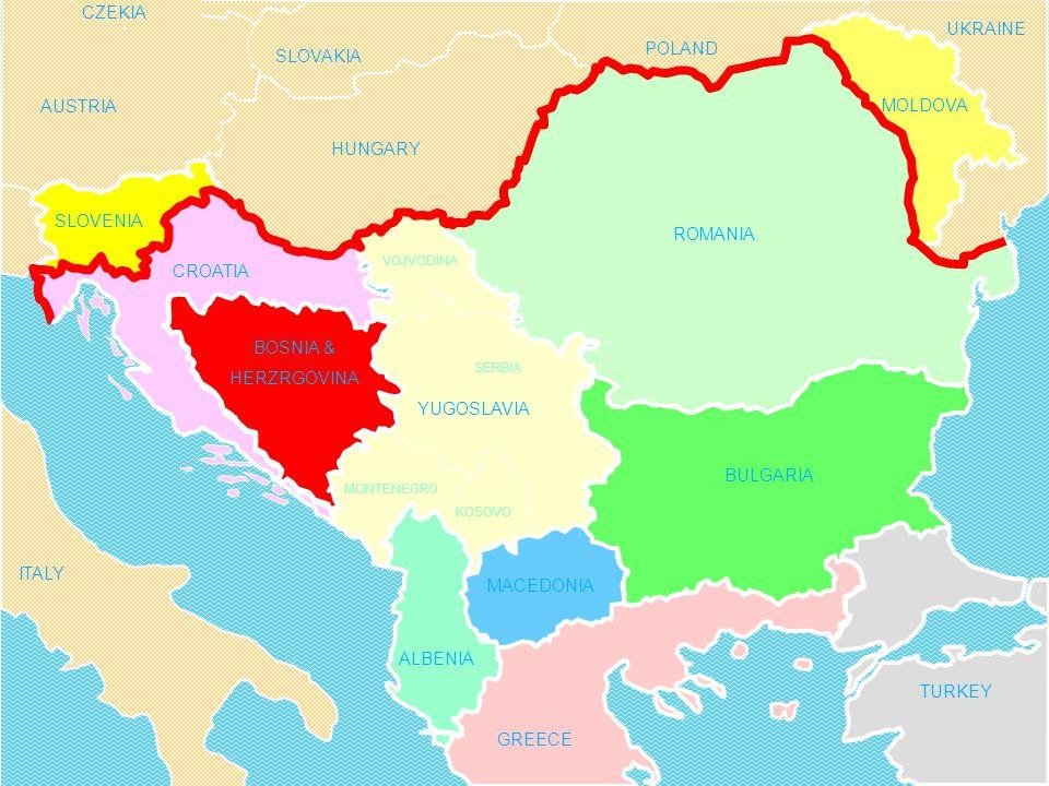 BULGARIA MACEDONIA ALBENIA BOSNIA & HERZRGOVINA GREECE TURKEY UKRAINE HUNGARY SLOVAKIA AUSTRIA POLAND CZEKIA ITALY YUGOSLAVIA SERBIA KOSOVO MONTENEGRO VOJVODINA CROATIA ROMANIA MOLDOVA SLOVENIA