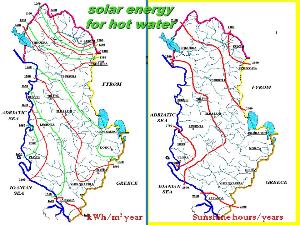 KOSOVA solar energy for hot water kWh/m 2 yearSunshine hours/years