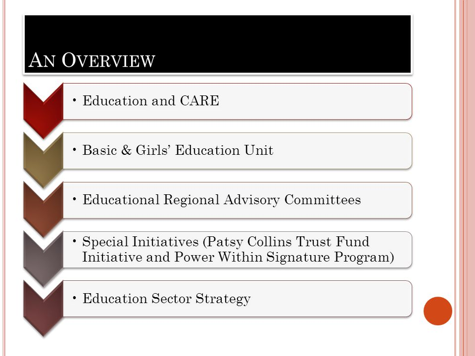 A N O VERVIEW Education and CAREBasic & Girls' Education UnitEducational Regional Advisory Committees Special Initiatives (Patsy Collins Trust Fund Initiative and Power Within Signature Program) Education Sector Strategy