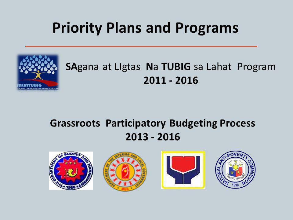Priority Plans and Programs SAgana at LIgtas Na TUBIG sa Lahat Program 2011 - 2016 Grassroots Participatory Budgeting Process 2013 - 2016