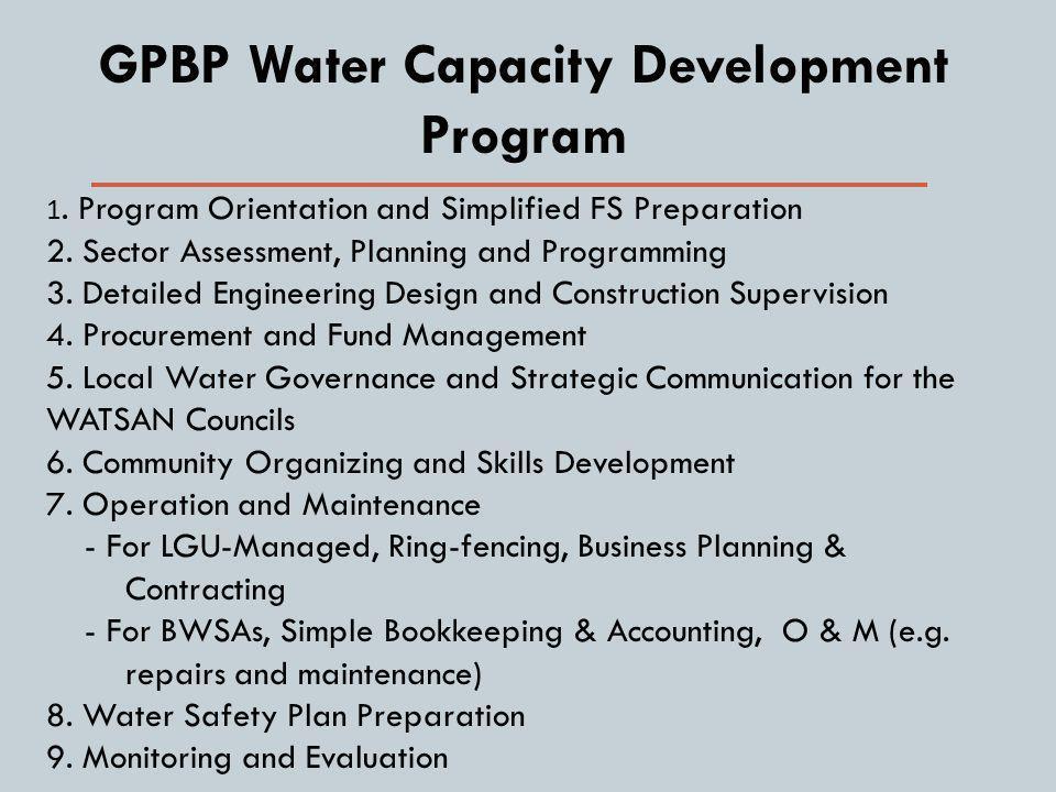 GPBP Water Capacity Development Program 1. Program Orientation and Simplified FS Preparation 2.