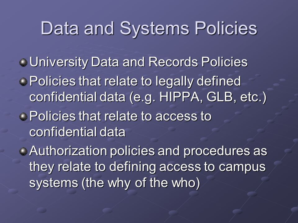 Data and Systems Policies University Data and Records Policies Policies that relate to legally defined confidential data (e.g.