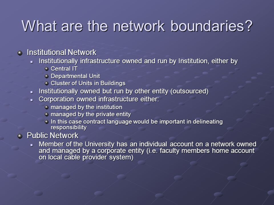 What are the network boundaries.