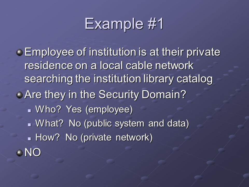 Example #1 Employee of institution is at their private residence on a local cable network searching the institution library catalog Are they in the Security Domain.