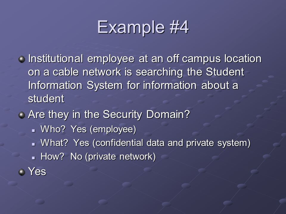 Example #4 Institutional employee at an off campus location on a cable network is searching the Student Information System for information about a student Are they in the Security Domain.