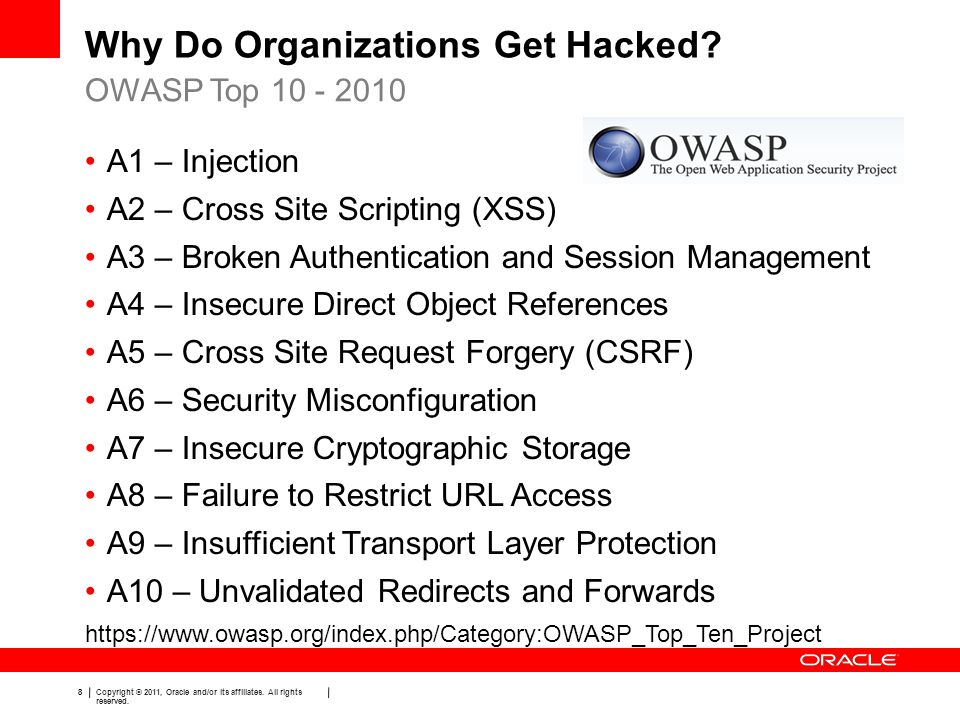 8 Copyright © 2011, Oracle and/or its affiliates. All rights reserved. Why Do Organizations Get Hacked? OWASP Top 10 - 2010 A1 – Injection A2 – Cross