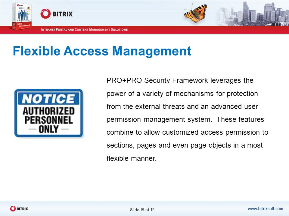 Flexible Access Management PRO+PRO Security Framework leverages the power of a variety of mechanisms for protection from the external threats and an advanced user permission management system.