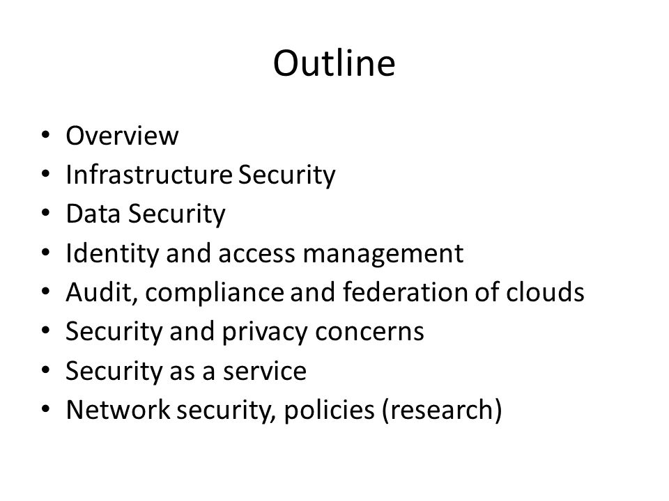 Security Assessments Third-party audits of cloud services or assessments of local systems via cloud-provided solutions Well defined and supported by multiple standards such as NIST, ISO, and CIS Additional Cloud Challenges – Virtualization awareness of the tool – Support for common web frameworks in PaaS applications – Compliance Controls for IaaS, PaaS, and SaaS platforms Services – Internal and / or external penetration test, Application penetration test, Host and guest assessments, Firewall / IPS (security components of the infrastructure) assessments, Virtual infrastructure assessment Threats addressed – Inaccurate inventory, Lack of continuous monitoring, Lack of correlation information, Lack of complete auditing, Failure to meet/prove adherence to Regulatory/Standards Compliance, Insecure / vulnerable configurations, Insecure architectures, Insecure processes / processes not being followed
