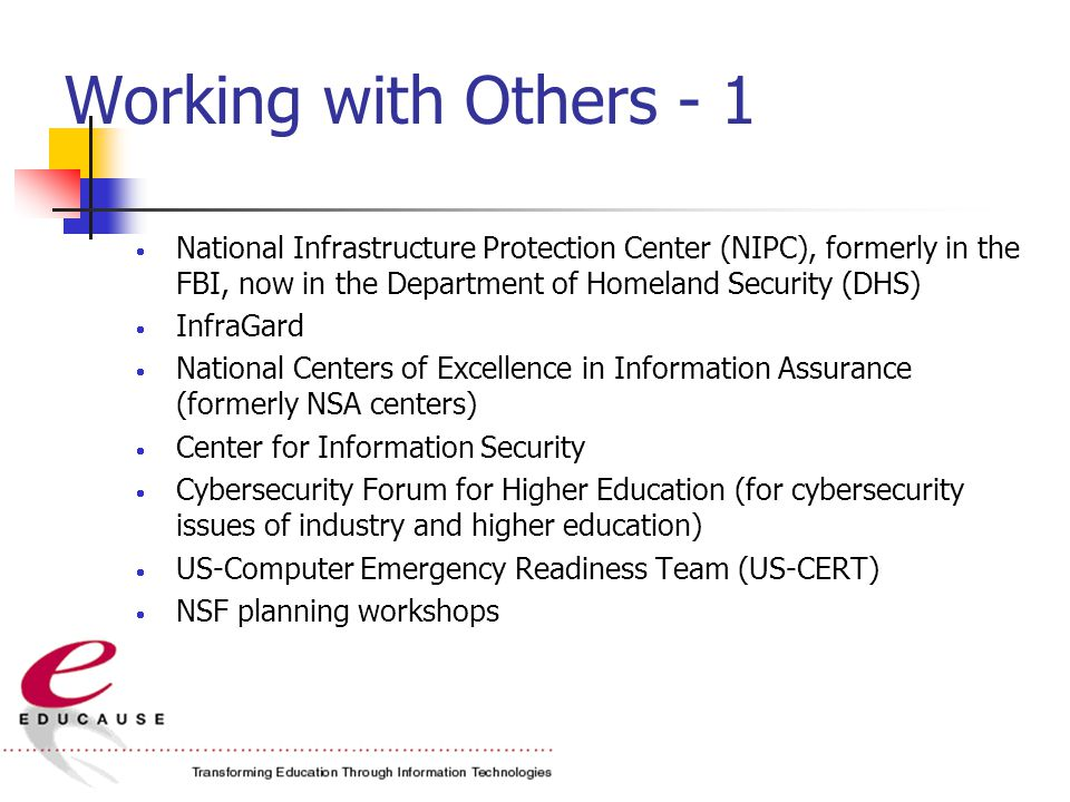 Working with Others - 1  National Infrastructure Protection Center (NIPC), formerly in the FBI, now in the Department of Homeland Security (DHS)  InfraGard  National Centers of Excellence in Information Assurance (formerly NSA centers)  Center for Information Security  Cybersecurity Forum for Higher Education (for cybersecurity issues of industry and higher education)  US-Computer Emergency Readiness Team (US-CERT)  NSF planning workshops