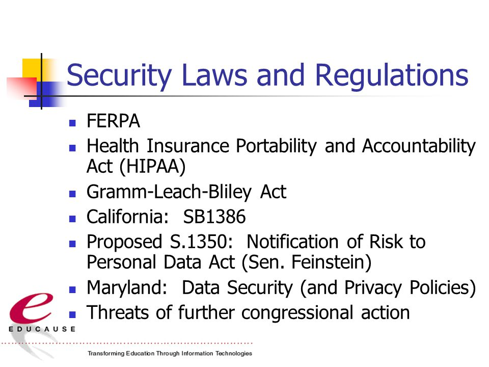 Security Laws and Regulations FERPA Health Insurance Portability and Accountability Act (HIPAA) Gramm-Leach-Bliley Act California: SB1386 Proposed S.1350: Notification of Risk to Personal Data Act (Sen.