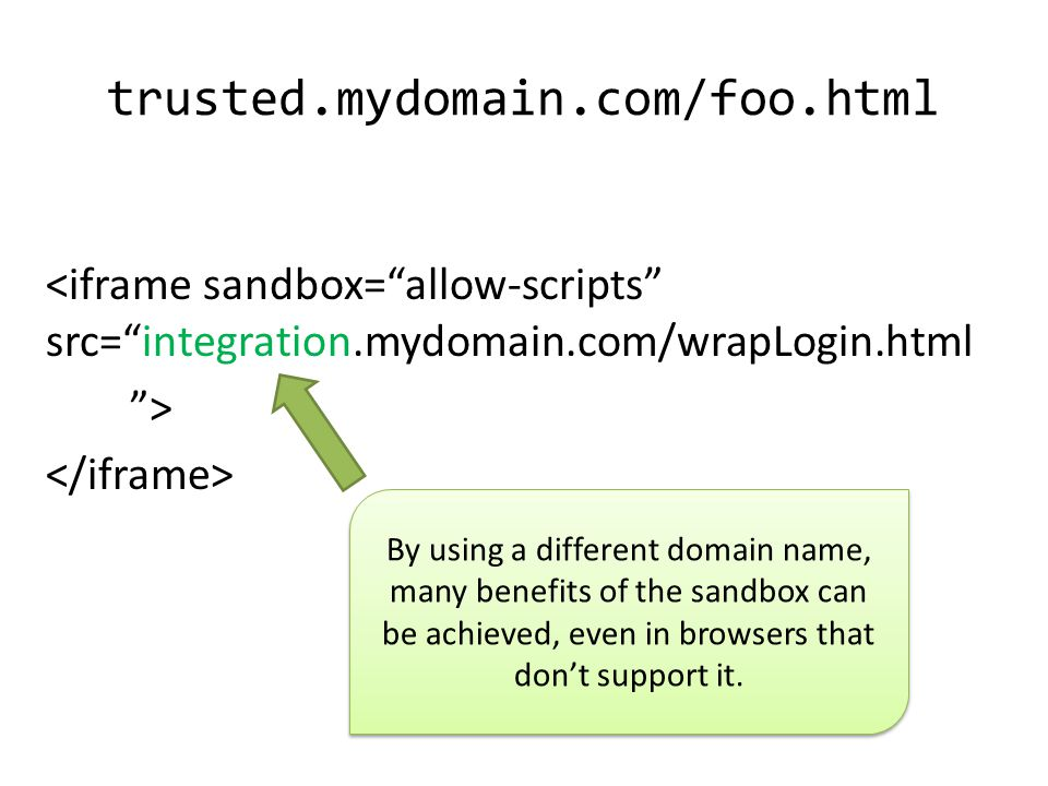 trusted.mydomain.com/foo.html <iframe sandbox= allow-scripts src= integration.mydomain.com/wrapLogin.html > By using a different domain name, many benefits of the sandbox can be achieved, even in browsers that don't support it.