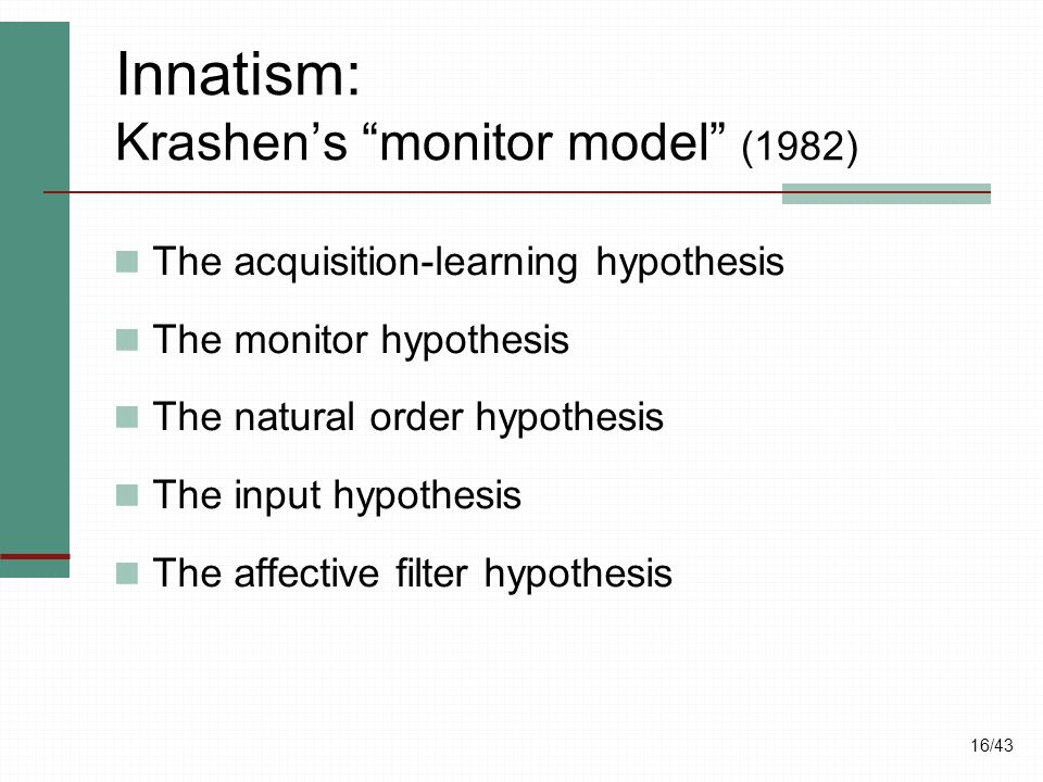 "16/43 Innatism: Krashen's ""monitor model"" (1982) The acquisition-learning hypothesis The monitor hypothesis The natural order hypothesis The input hyp"