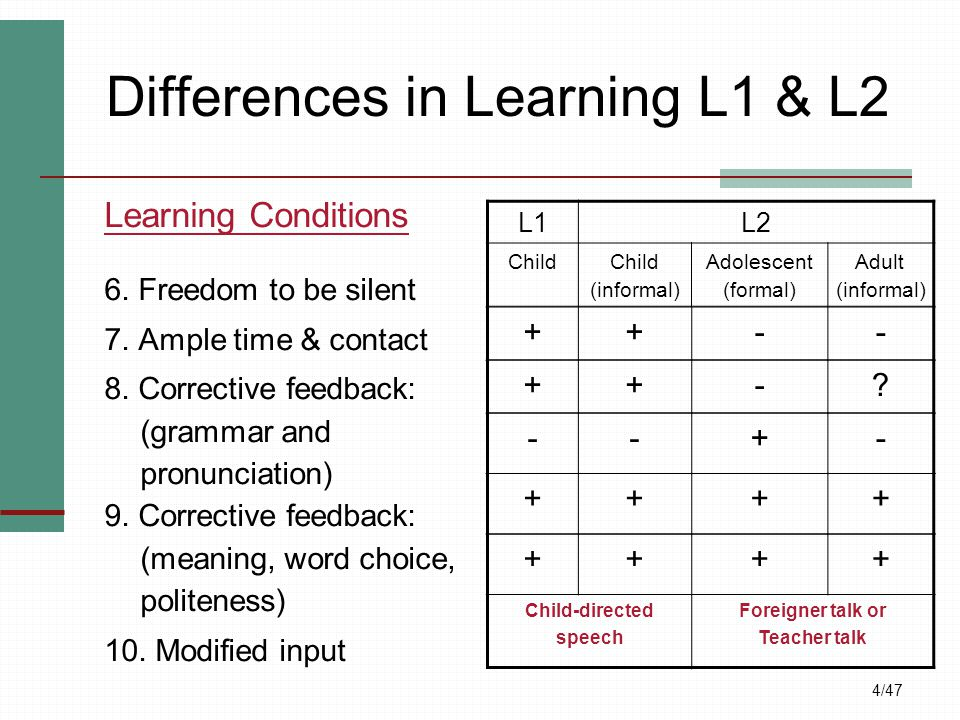 4/47 Differences in Learning L1 & L2 Learning Conditions 6. Freedom to be silent 7. Ample time & contact 8. Corrective feedback: (grammar and pronunci