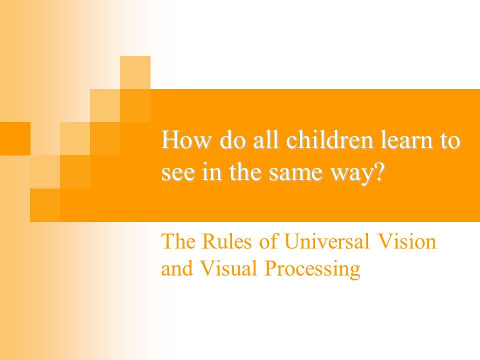 The fundamental problem of vision: The image at the eye has countless possible interpretations…