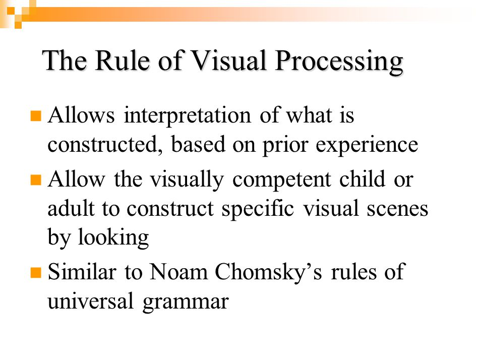 The Rule of Universal Vision Innate rules which grant visual mastery and lead to consensus in the visual constructions despite ambiguity Everyone cons