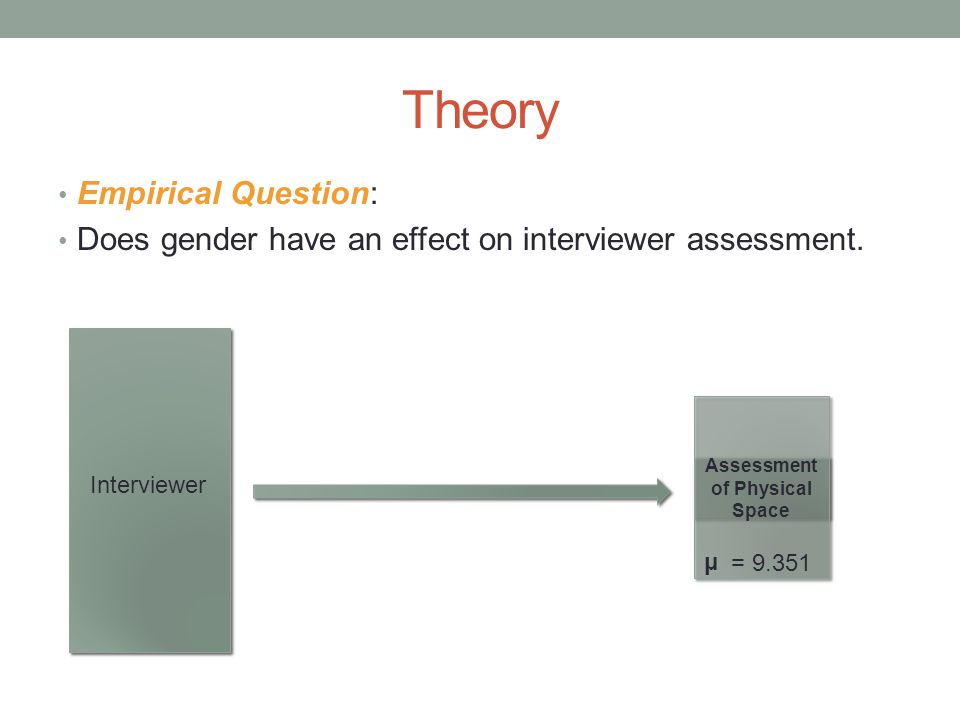 Theory Empirical Question: Does gender have an effect on interviewer assessment.
