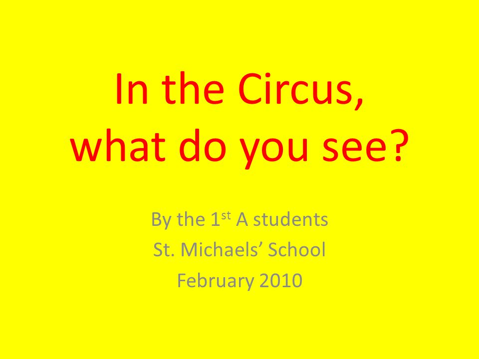 In the Circus, what do you see? By the 1 st A students St. Michaels' School February 2010