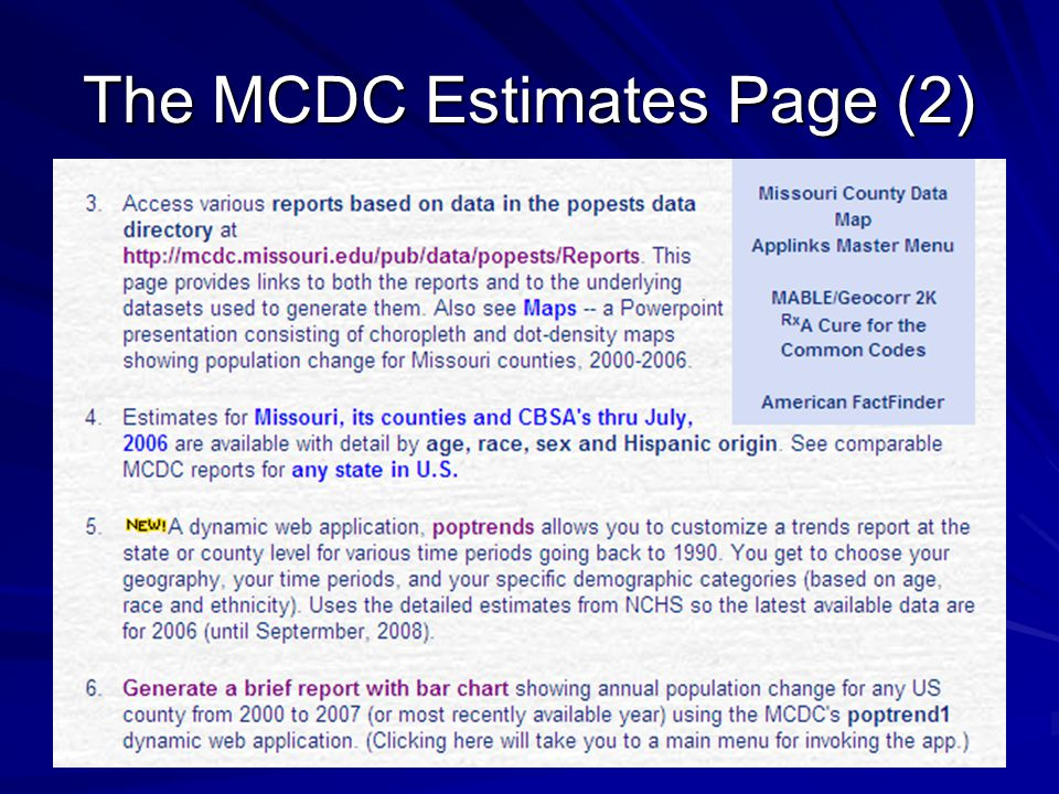 The MCDC Estimates Page (2)