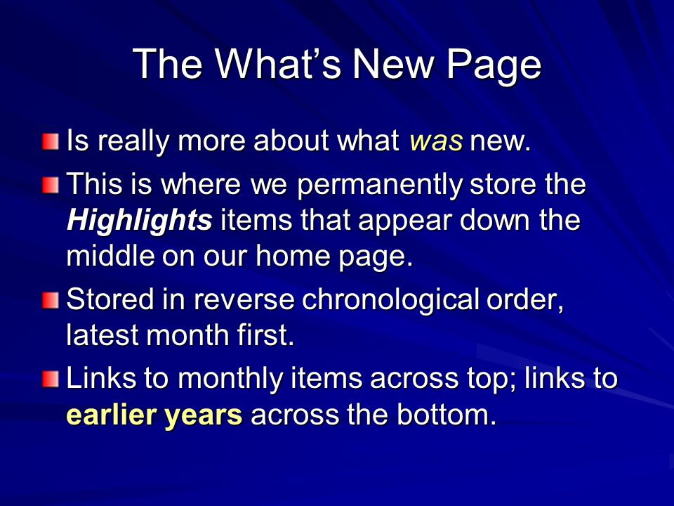 The What's New Page Is really more about what was new.