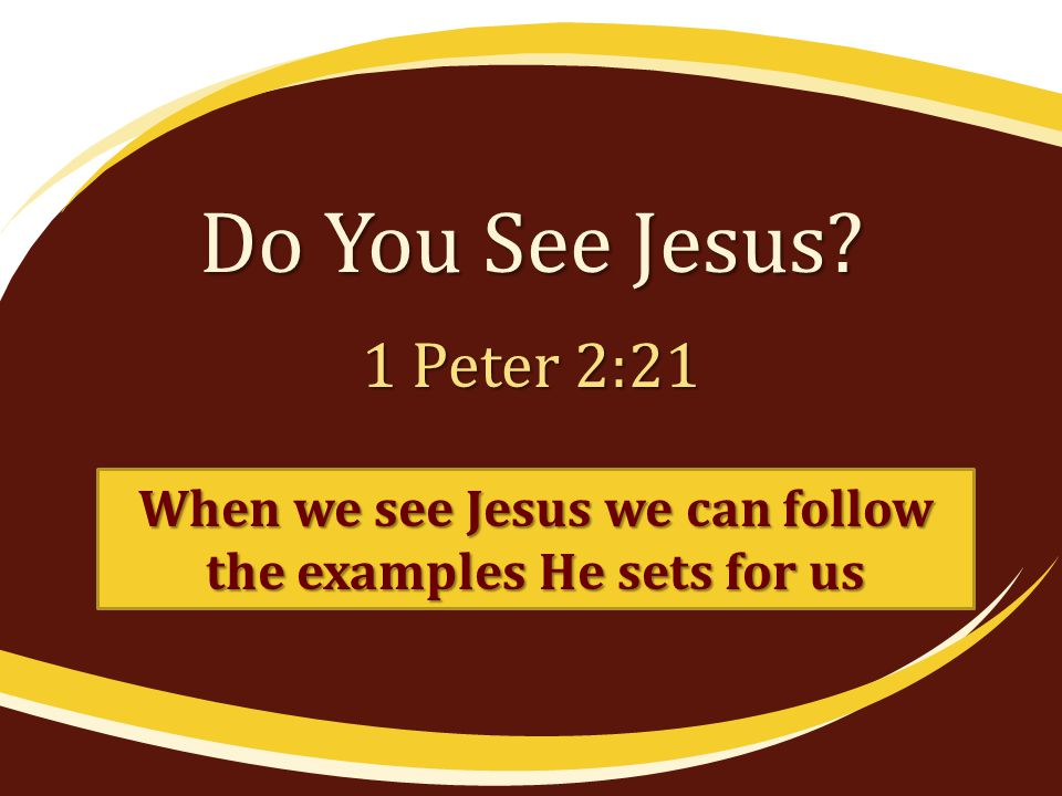 Do You See Jesus 1 Peter 2:21 When we see Jesus we can follow the examples He sets for us