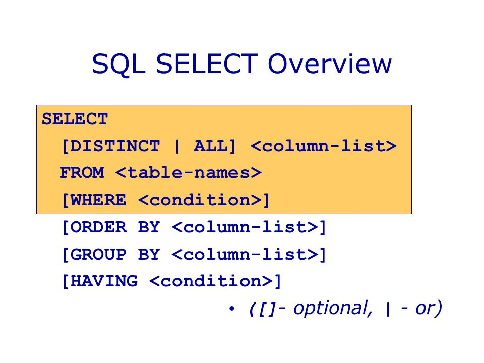 SQL SELECT Overview SELECT [DISTINCT | ALL] FROM [WHERE ] [ORDER BY ] [GROUP BY ] [HAVING ] ([] - optional, | - or)