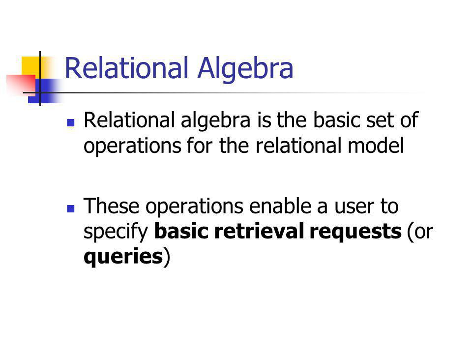 SET DIFFERENCE SET DIFFERENCE (also called MINUS or EXCEPT) is denoted by – The result of R – S, is a relation that includes all tuples that are in R but not in S The attribute names in the result will be the same as the attribute names in R The two operand relations R and S must be type compatible