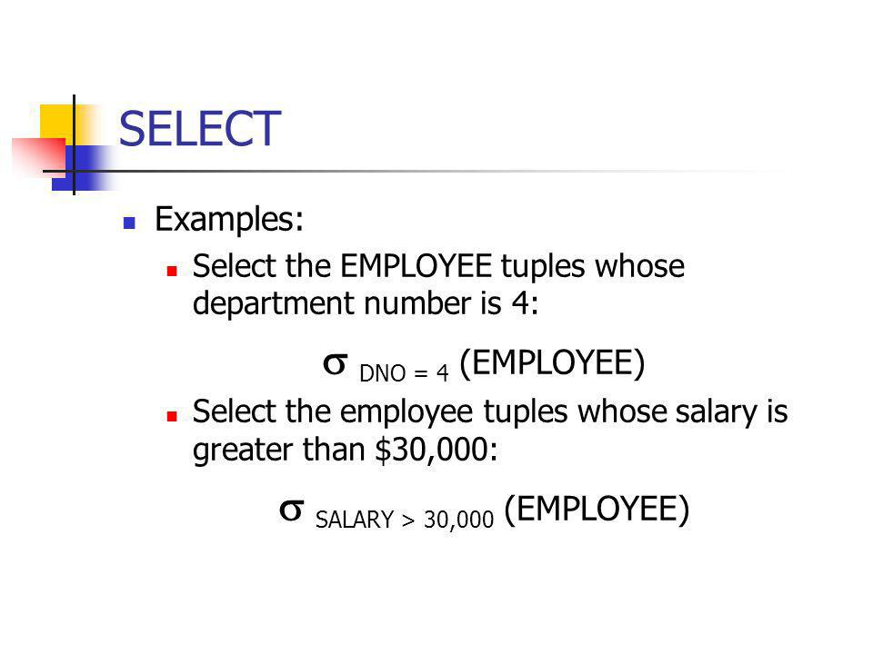 Aggregate Functions and Grouping Use of the Aggregate Functional operation Ʒ Ʒ MAX Salary (EMPLOYEE) retrieves the maximum salary value from the EMPLOYEE relation Ʒ MIN Salary (EMPLOYEE) retrieves the minimum Salary value from the EMPLOYEE relation Ʒ SUM Salary (EMPLOYEE) retrieves the sum of the Salary from the EMPLOYEE relation Ʒ COUNT SSN, AVERAGE Salary (EMPLOYEE) computes the count (number) of employees and their average salary