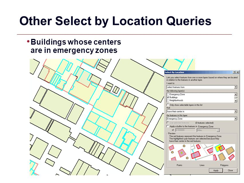 GIS 17 Other Select by Location Queries Buildings whose centers are in emergency zones