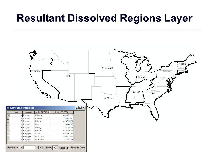 GIS 33 Resultant Dissolved Regions Layer