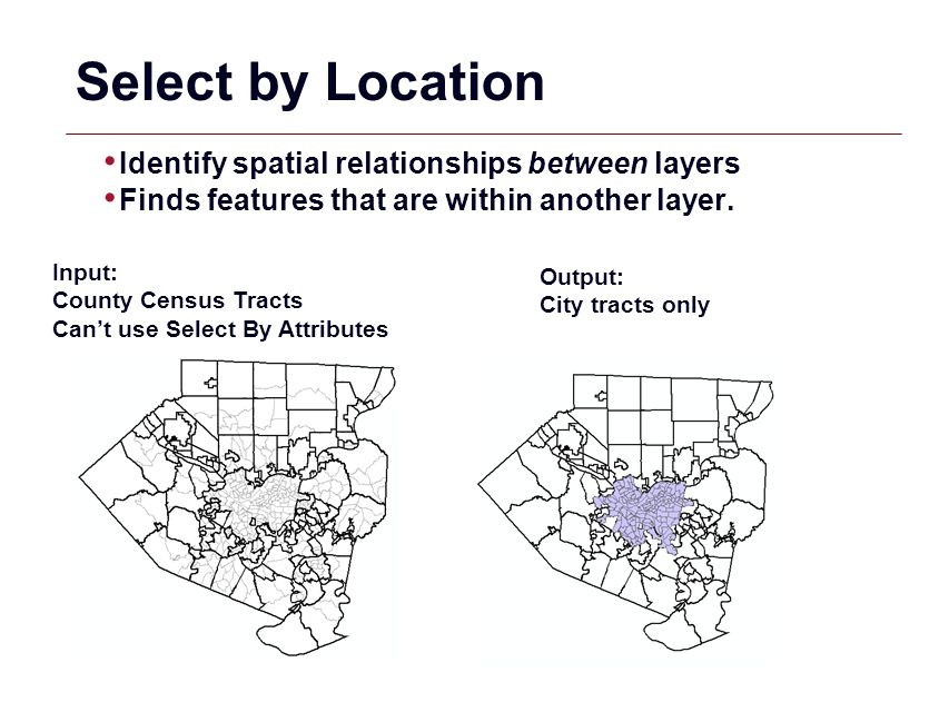 GIS 9 Select by Location Identify spatial relationships between layers Finds features that are within another layer. Input: County Census Tracts Can't