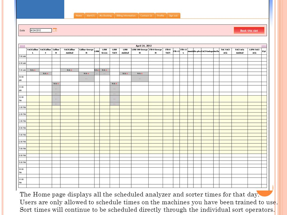 The Home page displays all the scheduled analyzer and sorter times for that day.