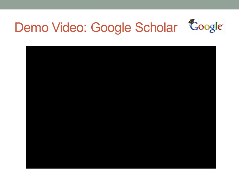 Demo Video: Google Scholar
