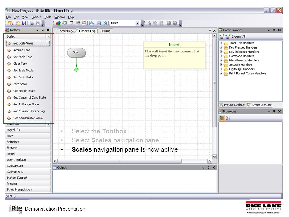 Demonstration Presentation Select the Toolbox Select Scales navigation pane