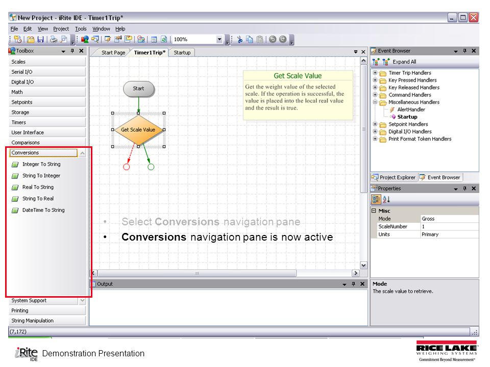 Demonstration Presentation Select Conversions navigation pane