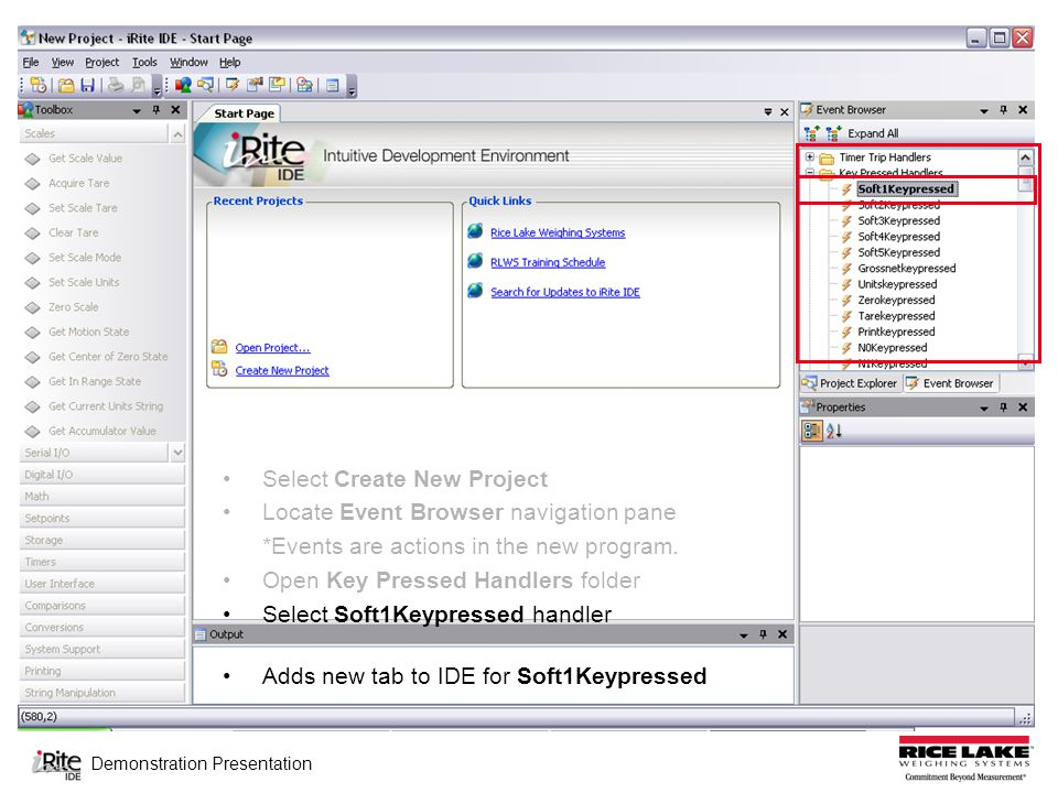 Demonstration Presentation Select Create New Project Locate Event Browser navigation pane *Events are actions in the new program.
