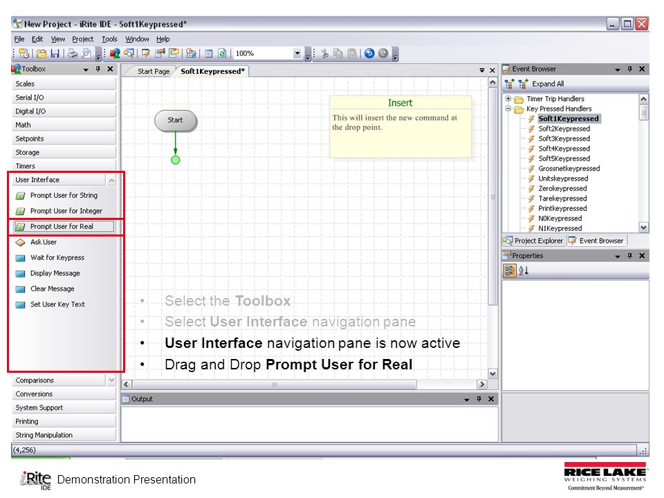 Demonstration Presentation Select the Toolbox Select User Interface navigation pane