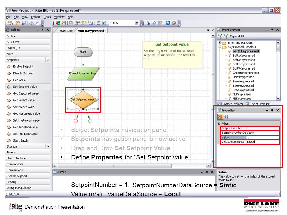 Demonstration Presentation Select Setpoints navigation pane Setpoints navigation pane is now active Drag and Drop Set Setpoint Value