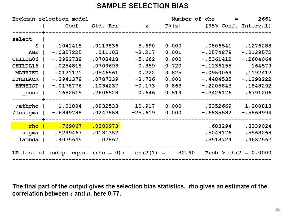 SAMPLE SELECTION BIAS Heckman selection model Number of obs = 2661 | Coef. Std. Err. z P>|z| [95% Conf. Interval] ---------+--------------------------