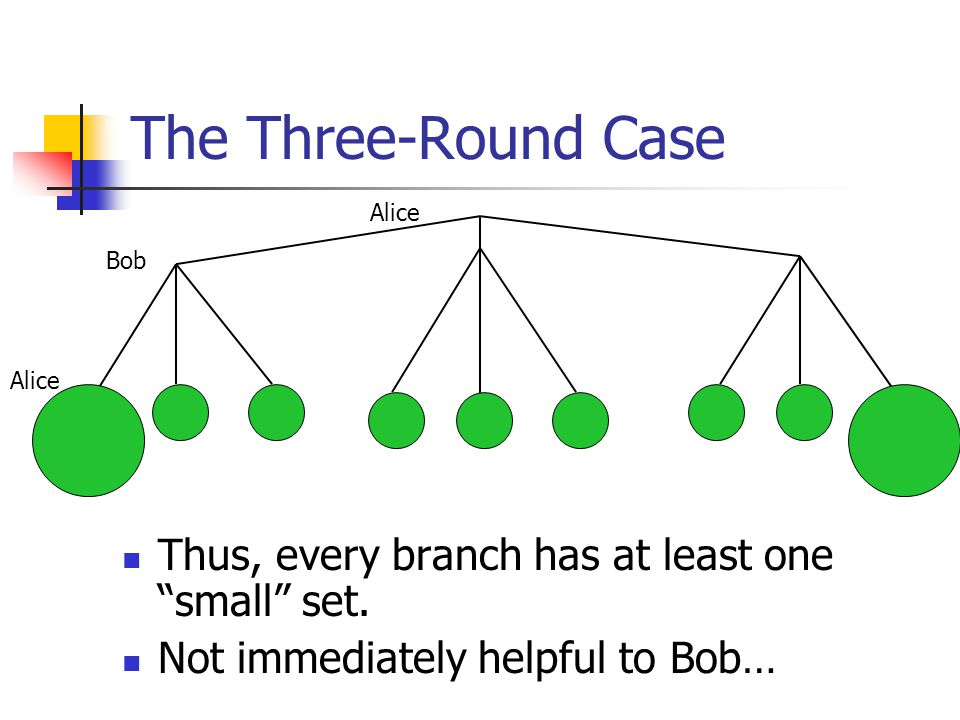 "The Three-Round Case Thus, every branch has at least one ""small"" set. Not immediately helpful to Bob… Alice Bob Alice"