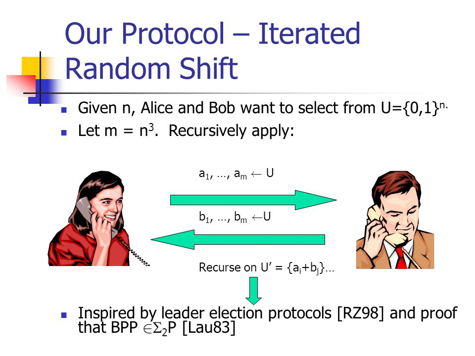 Our Protocol – Iterated Random Shift Given n, Alice and Bob want to select from U={0,1} n.