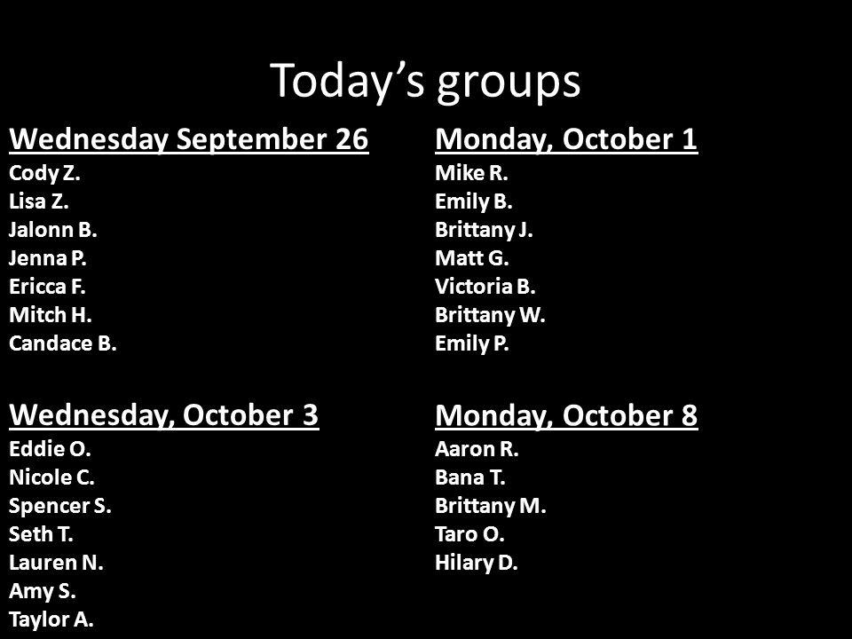 Today's groups Wednesday September 26 Cody Z. Lisa Z.