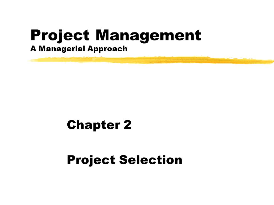 Project Management A Managerial Approach Chapter 2 Project Selection