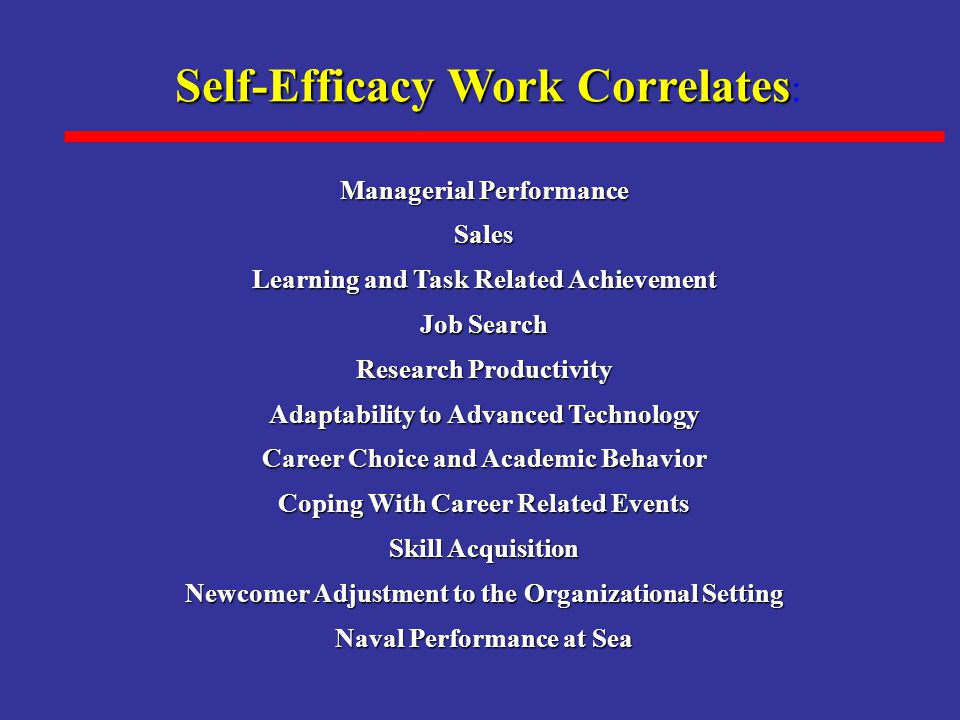 Self-Efficacy Work Correlates Self-Efficacy Work Correlates : Managerial Performance Sales Learning and Task Related Achievement Job Search Research Productivity Adaptability to Advanced Technology Career Choice and Academic Behavior Coping With Career Related Events Skill Acquisition Newcomer Adjustment to the Organizational Setting Naval Performance at Sea